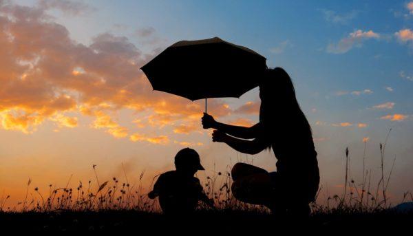 Family with umbrella insurance